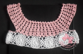 Сарафан Розовая сказка,  для годовалой малышки крючком