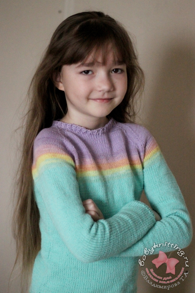 Джемпер спицами для девочки 8 - 9 лет