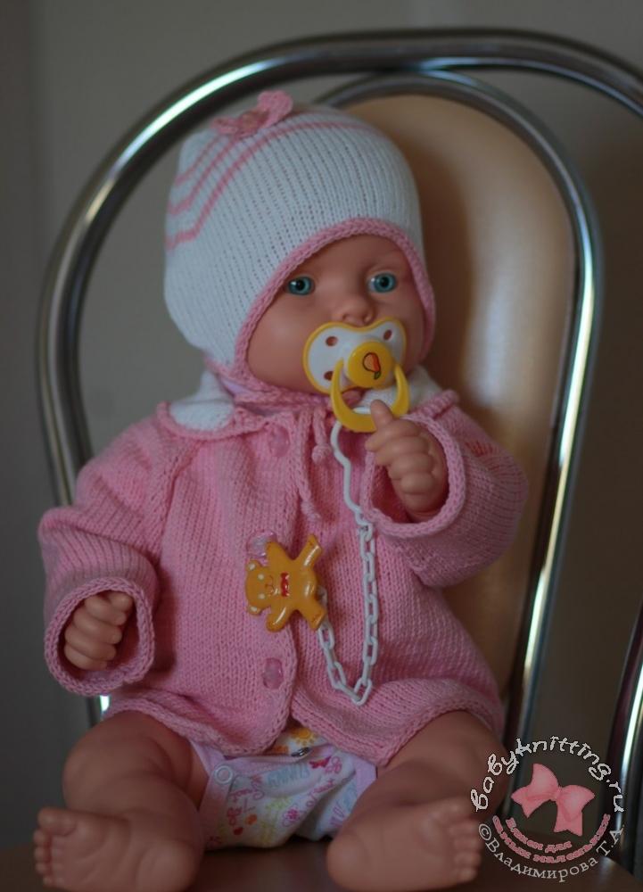 Комплект из пряжи cotton gold для малыша Кофта с воротником и чепчик