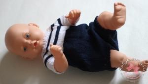 Боди в морском стиле для малыша спицами