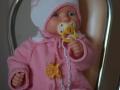 Комплект из пряжи cotton gold для малыша. Кофта с воротником и чепчик.