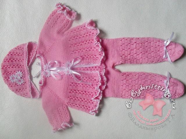 Комплект для новорожденного Ажурные ползунки для новорожденного спицами