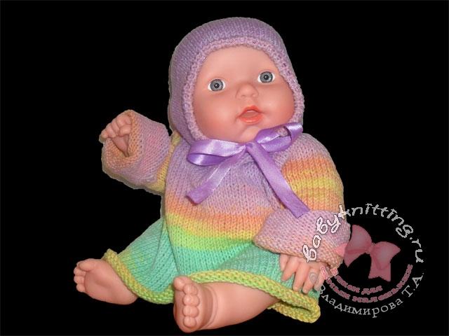 166Вязание спицами распашонка для новорожденного