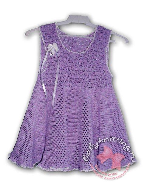 Платье для девочки, связанное крючком ( с описанием). lusyena64.  Прочитать целикомВ.