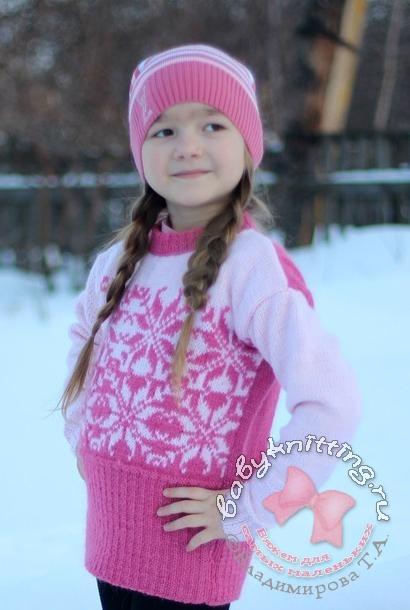 Свитер для девочки с норвежским узором спицами