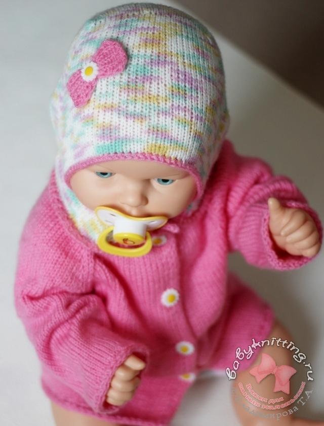 Кофточка с воротником и чепчик  спицами для новорожденного.