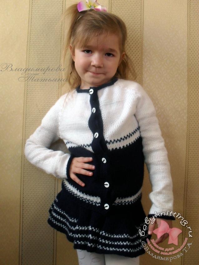 Комплект-Морячка-спицами-для-девочки-6-лет